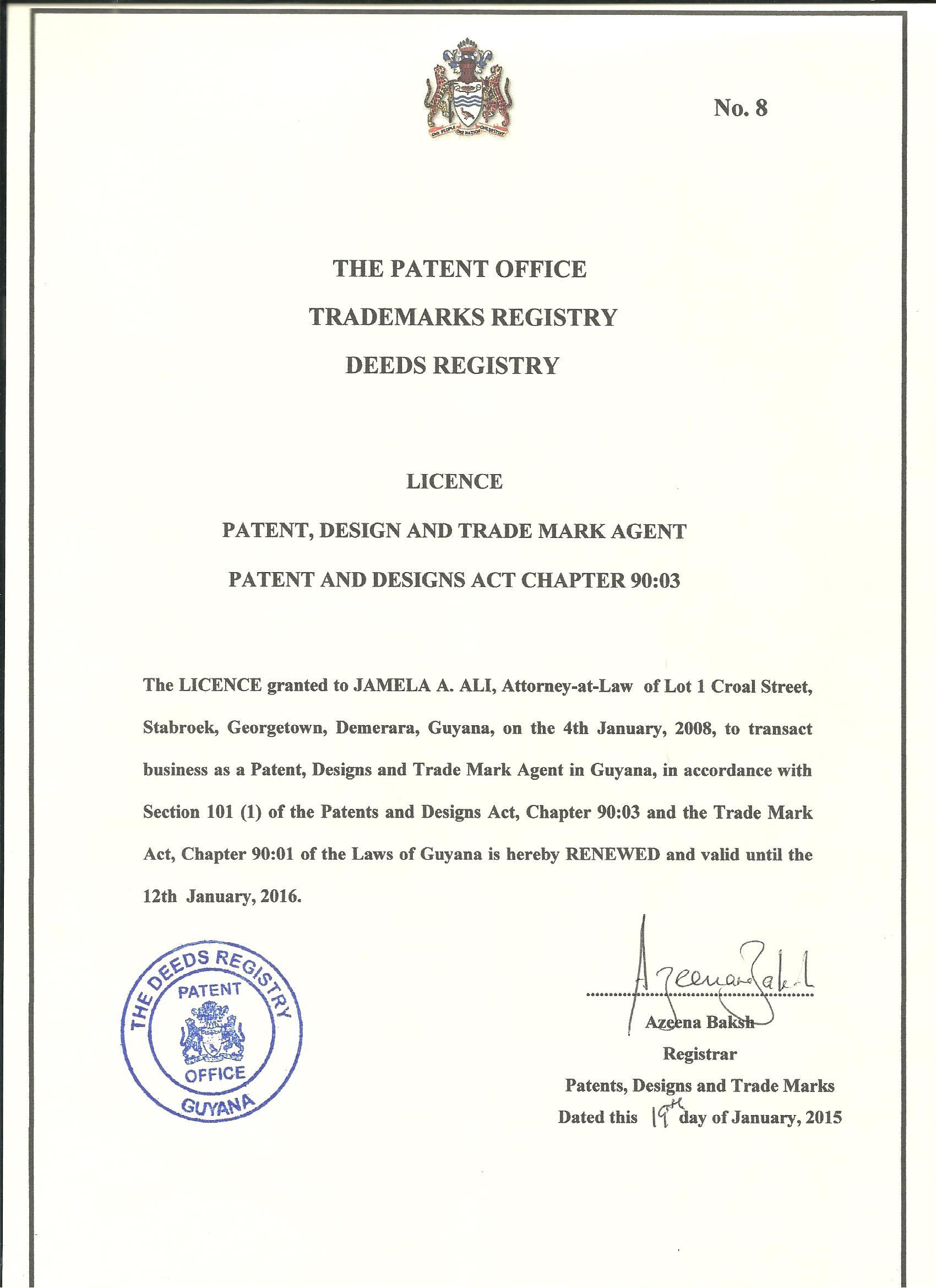 Oil Guyana Trademarks Patent Intellectual Property Agent ...